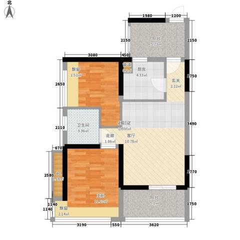 潜龙曼海宁二期2室0厅1卫1厨68.00㎡户型图