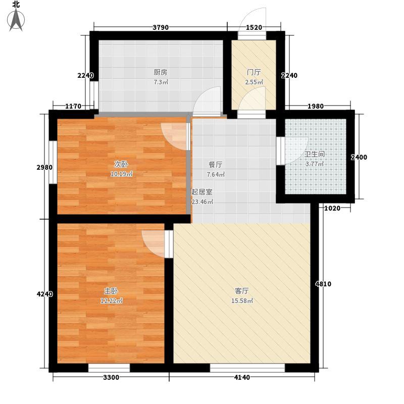 金吉华庭8.63㎡6号楼B户型2室2厅1卫1厨