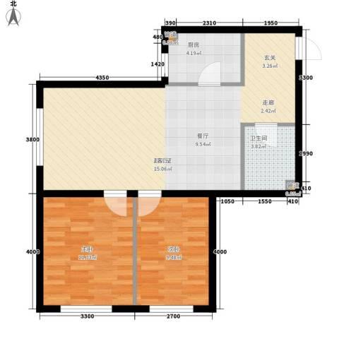 明城・新北市2室0厅1卫1厨66.00㎡户型图