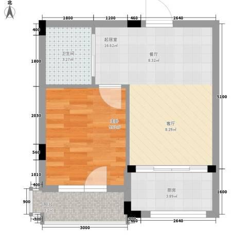 轩泽硅谷壹号1室0厅1卫1厨52.00㎡户型图