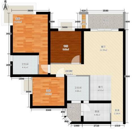 逸静丰豪3室0厅2卫1厨119.00㎡户型图