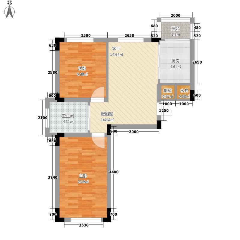 轩泽硅谷壹号71.00㎡轩泽硅谷壹号户型图71-73平方米D2户型图2室1厅1卫1厨户型2室1厅1卫1厨