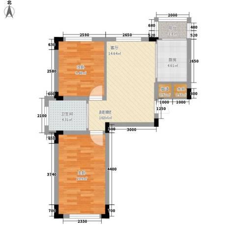 轩泽硅谷壹号2室0厅1卫1厨71.00㎡户型图