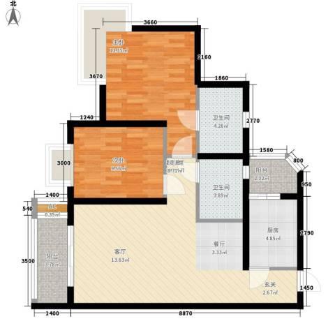逸静丰豪2室0厅2卫1厨102.00㎡户型图