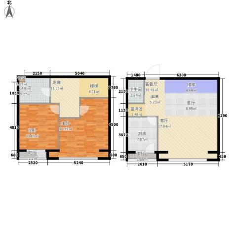 福顺江山2室1厅2卫1厨109.00㎡户型图