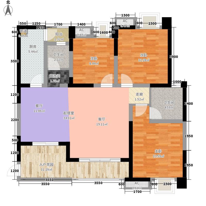 华润橡树湾128.00㎡3期17-28号楼标准层Q2'户型