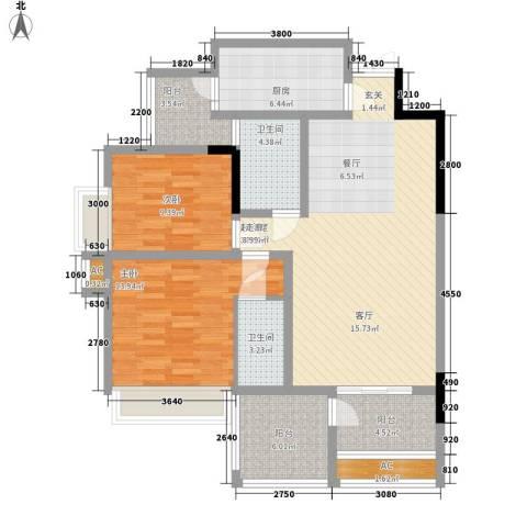 圣苑塞纳阳光曦岸2室0厅2卫1厨100.77㎡户型图