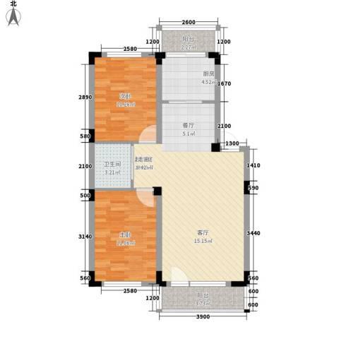 轩泽硅谷壹号2室0厅1卫1厨83.00㎡户型图