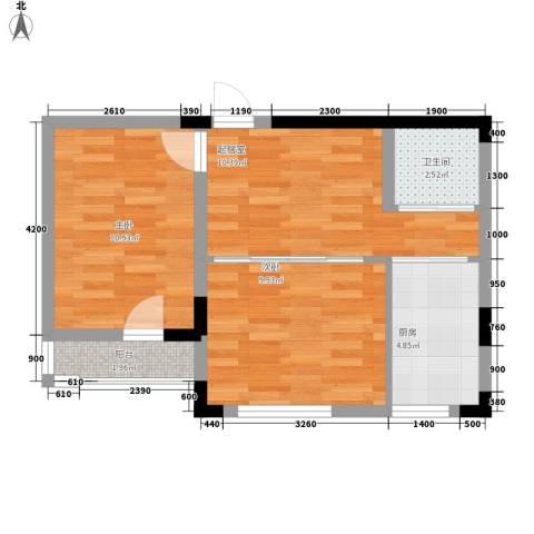 轩泽硅谷壹号2室0厅1卫1厨58.00㎡户型图