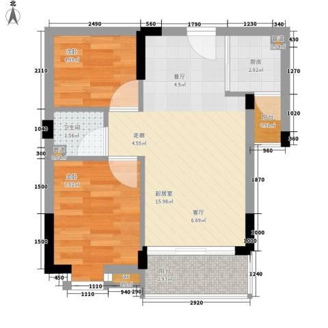 九杨新村2室0厅1卫1厨42.00㎡户型图