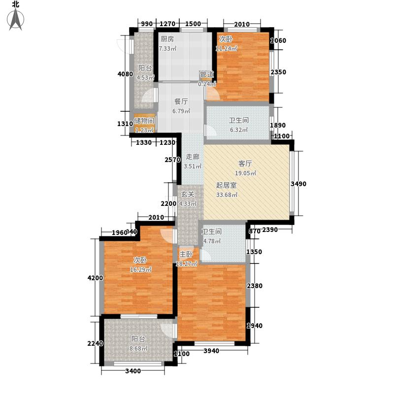 威尼斯水城130.00㎡御江天下b2户型3室2厅2卫1厨