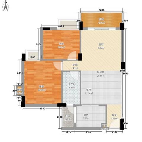 云峰学府南苑2室0厅1卫1厨94.00㎡户型图