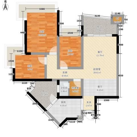雅居乐国际花园雅郡3室0厅1卫1厨84.00㎡户型图
