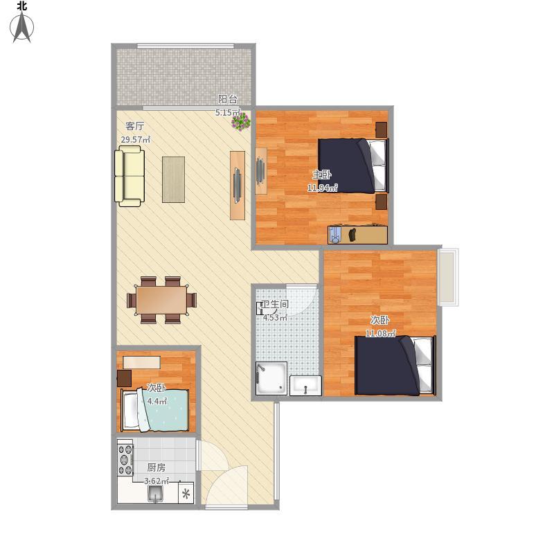 富力现代广场户型图3f-1