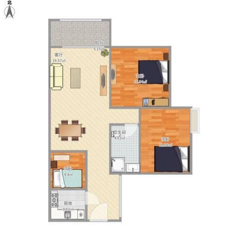 富力现代广场3室1厅1卫1厨78.00㎡户型图