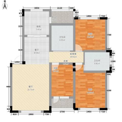 轩泽硅谷壹号3室0厅2卫1厨130.00㎡户型图