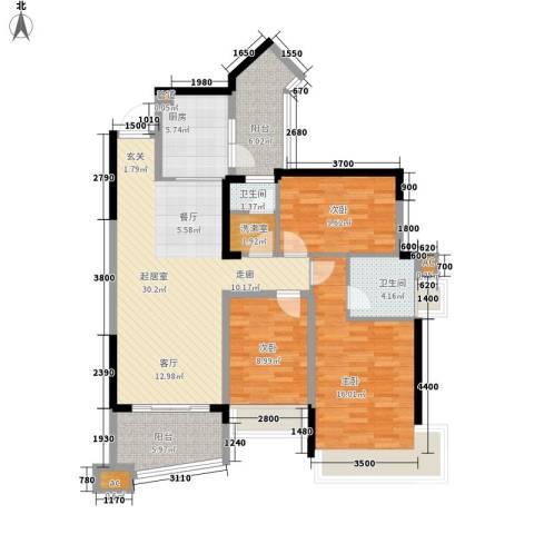 雅居乐国际花园雅郡3室0厅2卫1厨97.00㎡户型图