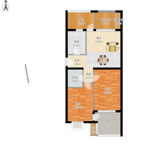 永康城市花园2室1厅1卫1厨122.00㎡户型图