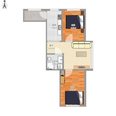 格兰云天2室1厅1卫1厨59.00㎡户型图
