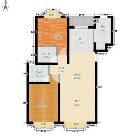 中银公寓2室0厅2卫1厨122.00㎡户型图