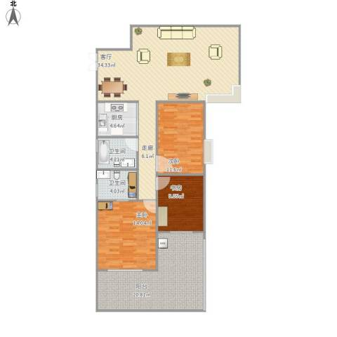 钰海名门3室1厅2卫1厨146.00㎡户型图