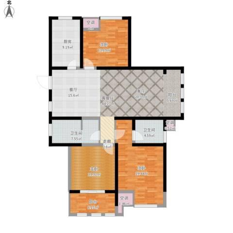 中天锦庭3室1厅2卫1厨172.00㎡户型图