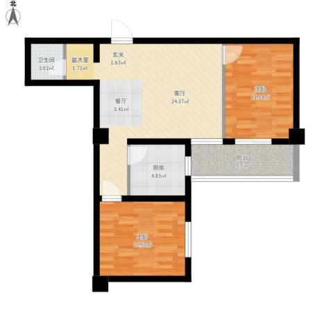 昆明湖畔2室1厅1卫1厨85.00㎡户型图