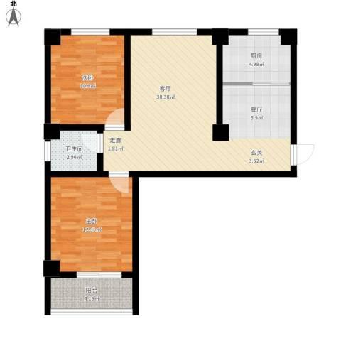 昆明湖畔2室1厅1卫1厨96.00㎡户型图