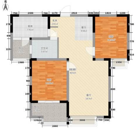 美满锦园2室1厅1卫1厨106.00㎡户型图