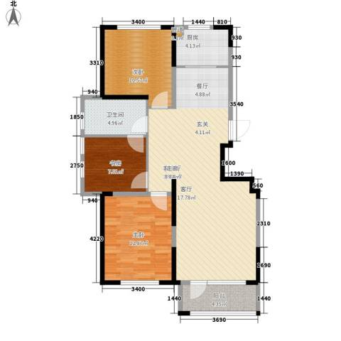 华亿红府3室1厅1卫1厨108.00㎡户型图