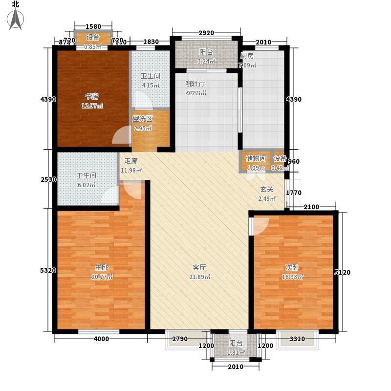 绿地英湖印象135.00㎡E户型3室2厅2卫