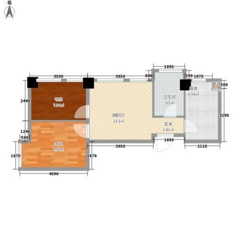 华亿红府2室1厅1卫1厨69.00㎡户型图
