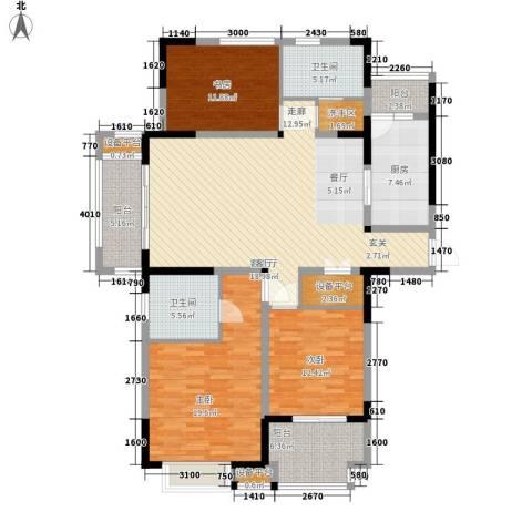 美满锦园3室1厅2卫1厨139.00㎡户型图