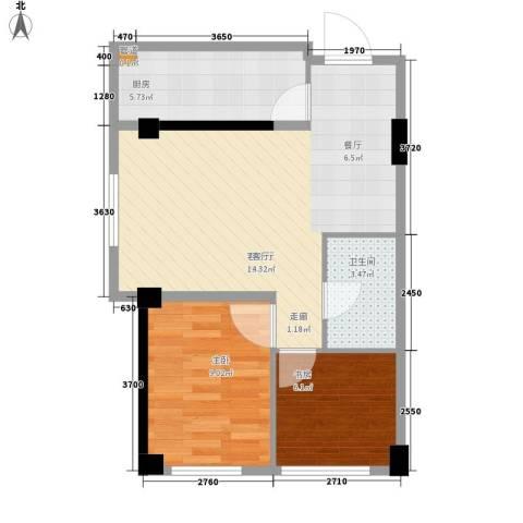 华亿红府2室1厅1卫1厨73.00㎡户型图