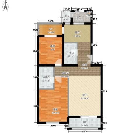 学风19112室1厅2卫1厨98.00㎡户型图