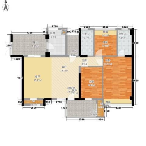 潜龙曼海宁二期3室0厅2卫1厨116.11㎡户型图