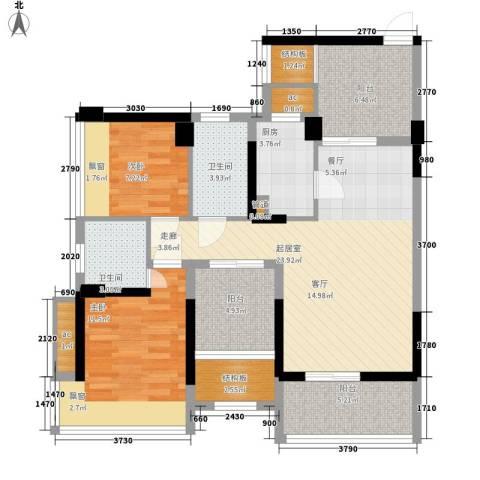 潜龙曼海宁二期2室0厅2卫1厨90.00㎡户型图