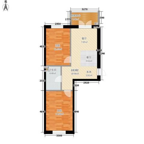 铂宇剑桥郡2室0厅1卫0厨64.00㎡户型图