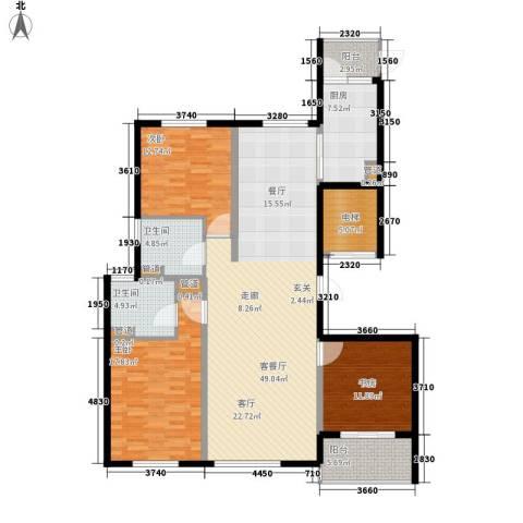 铂金时代3室1厅2卫1厨139.90㎡户型图