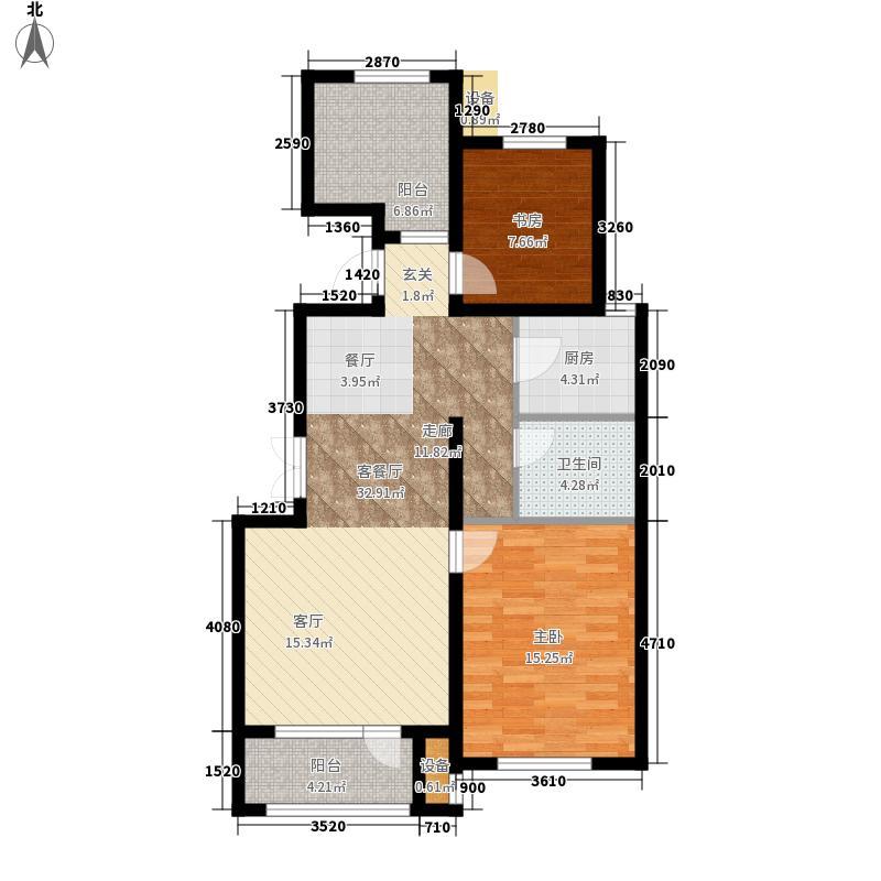 空港家园一期洋房B户型3室2厅1卫1厨
