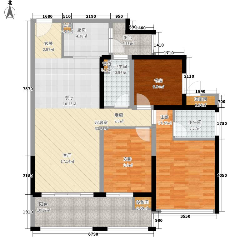 中德英伦联邦89.00㎡B区16、17、18号楼G户型3室2厅2卫1厨