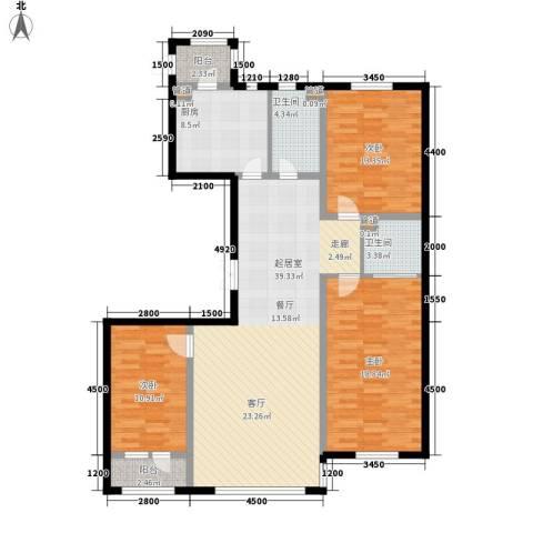 金嘉水岸3室0厅2卫1厨117.91㎡户型图