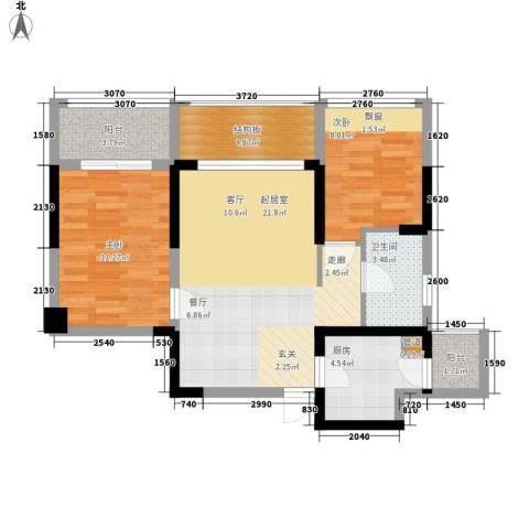 潜龙曼海宁二期2室0厅1卫1厨70.00㎡户型图