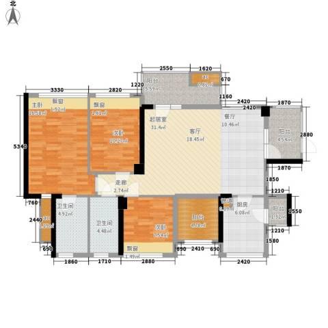 潜龙曼海宁二期3室0厅2卫1厨114.27㎡户型图