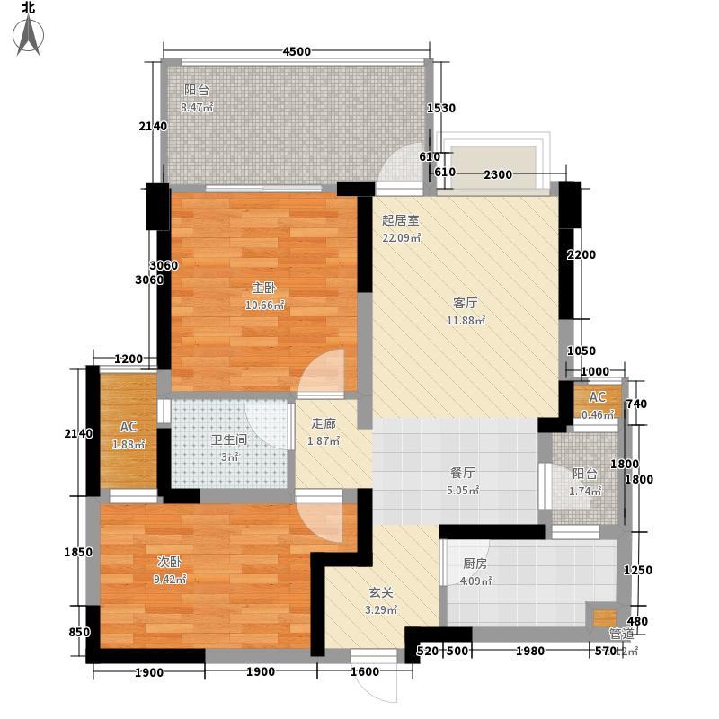 沙河壹号78.00㎡2期4#楼B户型(偶数层)户型2室2厅1卫1厨