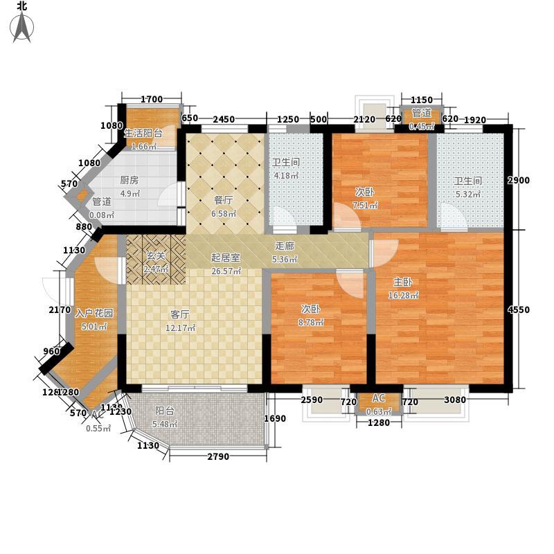 U+尚舍116.00㎡B3户型3室2厅2卫1厨