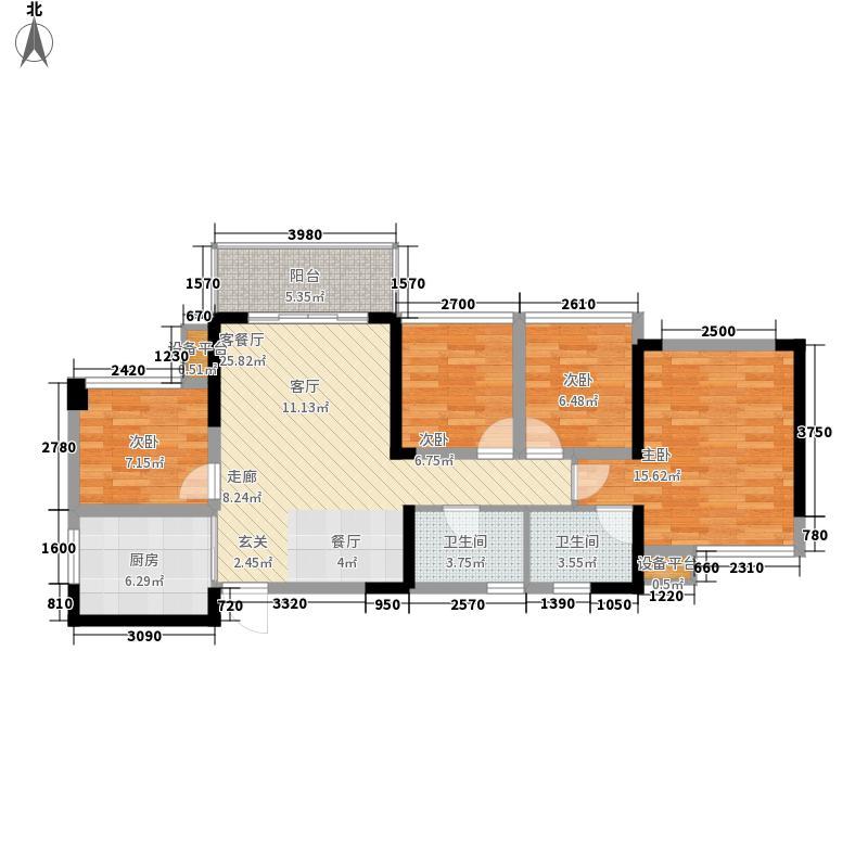 大嘉汇尚悦88.00㎡5#楼01/07户型4室2厅1卫1厨