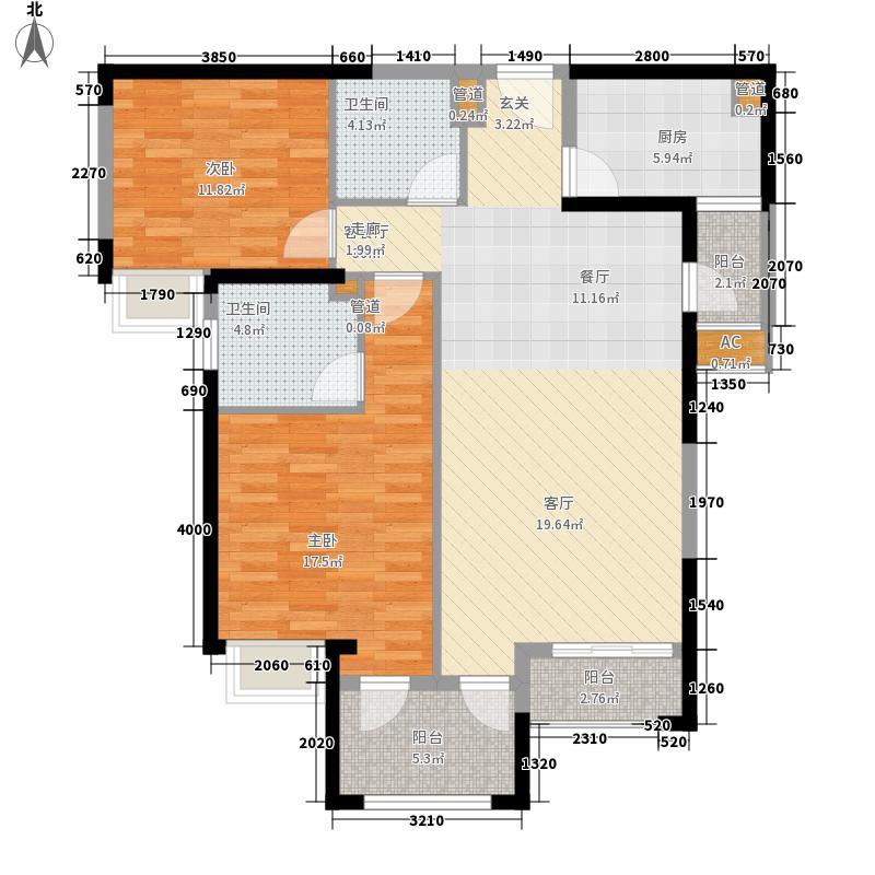 世茂湖滨首府104.00㎡B2-1#2梯02、03户型2室2厅