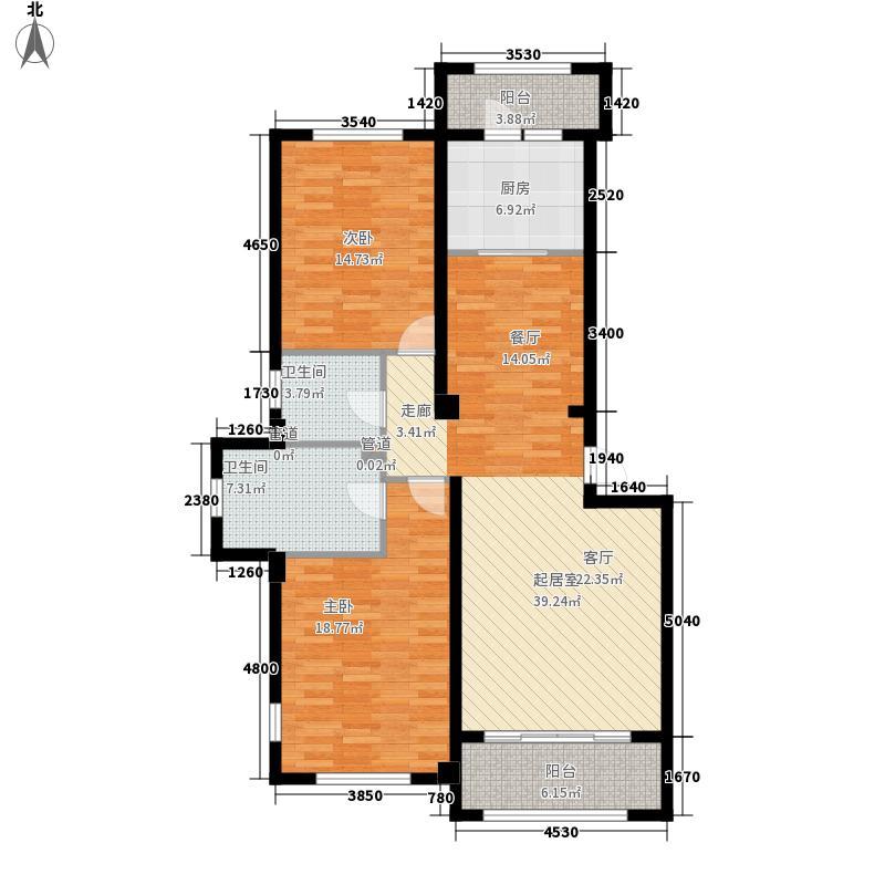 北国之春梦幻城114.32㎡C(一层把山)户型2室2厅2卫1厨
