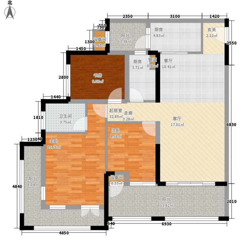 中德英伦联邦87.00㎡一期2号楼M户型3室2厅2卫1厨
